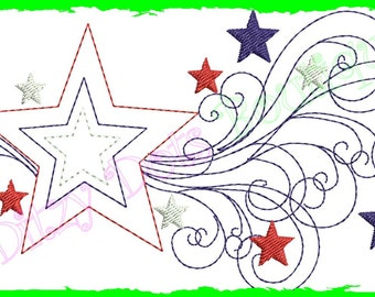 Shooting Star, 4th of July Applique Machine Embroidery Design