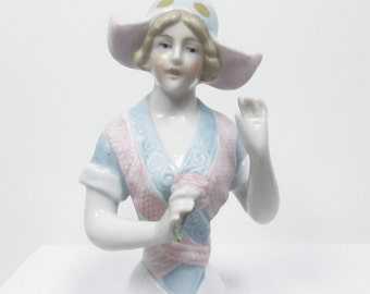 Vintage Half Doll, Dutch Pincushion Doll, Arms Away, Holding Rose, Gebruder Heubach, Germany