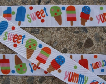 "3yards Sweet Color Ice Cream Ribbon Cup Cake Printed Ribbon 7/8"""