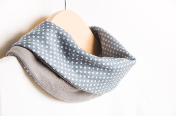 Baby scarf bib | Stylish drooler bib | Infinity scarf look |100% cotton | Baby, teen, adult. Grey and dots