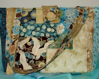Strip Tote Bag - Asian-influenced Teals