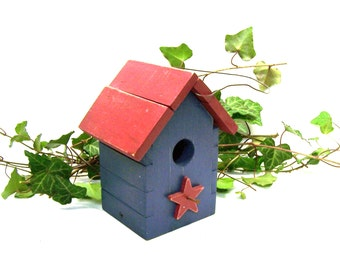 Rustic Primitive Handmade Birdhouse Red, Blue Stars