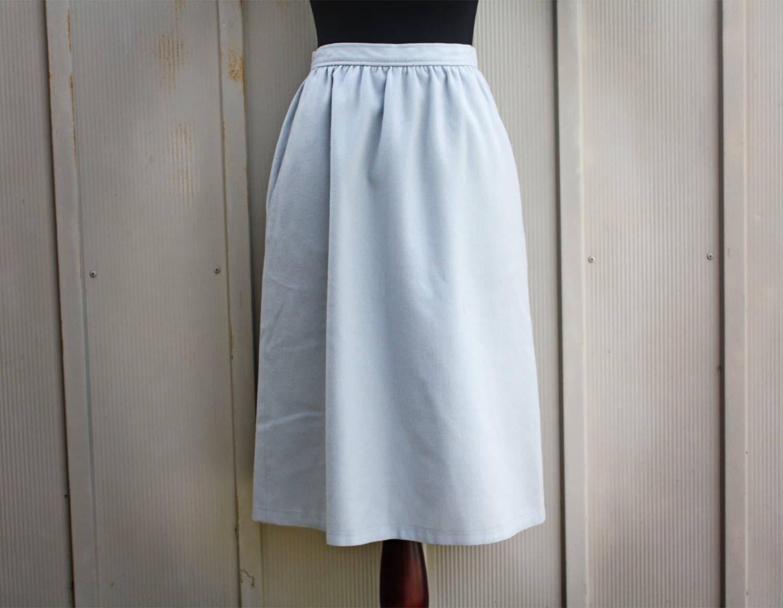 baby blue wool skirt high waist a line skirt 60s mod skirt