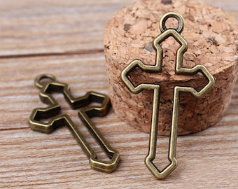 10pcs 20x38mm  Antique bronze sideways cross charm connector