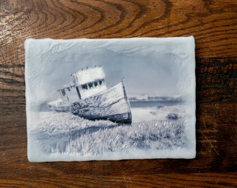 SALE. Point Reyes Boat. Original encaustic wall art. Encaustic California Photography. Landscape. Black and white. 5x7