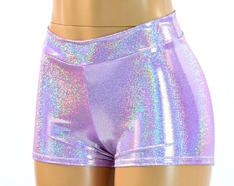 Midrise Lilac Purple Holographic Metallic Spandex Mid Rise Booty Shorts   150573