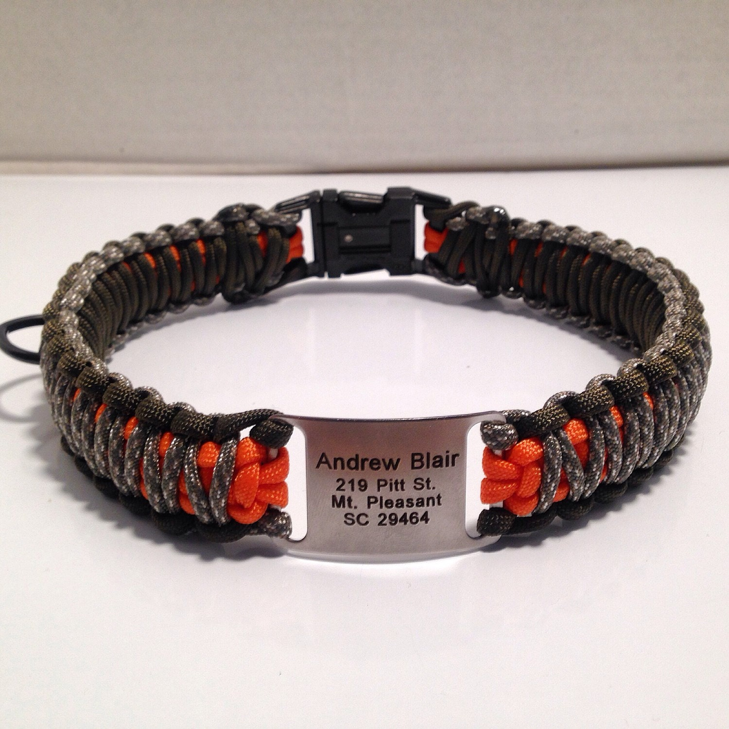 Paracord Dog Collar With Name Plate by XtremeParacordGear
