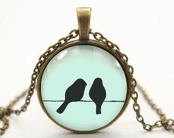 love birds on wire necklace bird necklace pendant jewelry- with free jewelry box