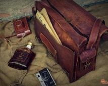 """Leather Messenger Bag 18"""" / Brown Leather Briefcase / Retro Handbag / Satchel / Hip Bag / Shoulder Bag / Carry Bag / Cabin Travel Bag"""