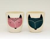 Set of 2 - Handmade ceramic cup - ceramic coffee cup - coffee mug - fox illustration - serveware - tableware - gift idea - MADE TO ORDER