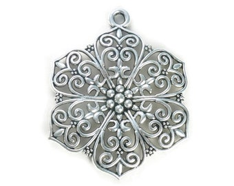 1 Filigree Silver Flower Charm Pendant Extra Large 66x52mm by TIJC SP0808