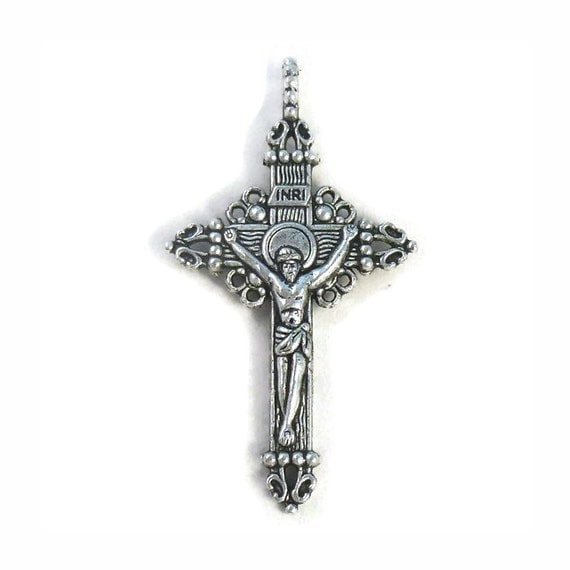 3 Ornate Silver Crucifix Cross Pendant Necklace 51x28mm By