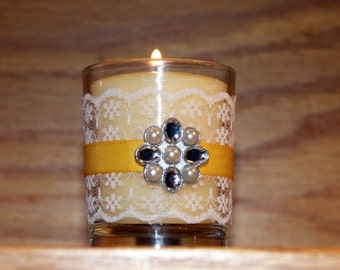 Yellow Wedding / Wedding Votive Candle Holder / English Garden Wedding / Shabby Chic Wedding Decoration / White Lace Votive / Rhinestone/ 6