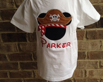 Pirate Mickey Mouse appliqued shirt