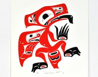 Raven Spirits Northwest Coast Native Limited Edition Serigraph Print Signed 1991