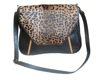 """Handbag satchel graphic """"Mellowness"""" leopard in leather and cowhide skin. on sale."""