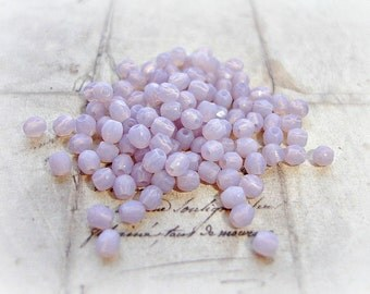 20 x 3 mm Lavender Fire Polished Czech Glass Beads