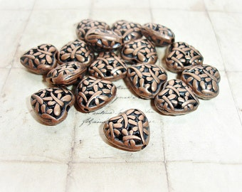 10 Antique Copper Hollow Heart Charm Dragonfly Pattern
