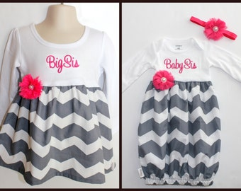 Big Sister Little Sister Outfit - Girls Chevron Dress - Newborn Gown - Grey - Pink - Going Home Outfit - Baby Shower Gift - With Headband