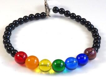 Women's ROY G BIV and Black Beaded Memory Wire Bracelet