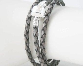 Gray Bolo Leather European Style Triple Wrap Bracelet