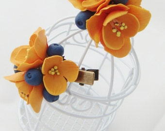Flower hair clip - orange freesia, blueberry, flower barrette, Hair flower, Clay flower clip,  Polymer clay flower, Flower Hair accessory.