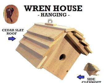 Ark Workshop WREN House Cedar Shelter Box Home for wrens, chickadees, titmice. HANGING, SLAT roof