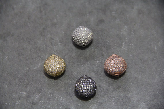 CZ Micro Pave 15mm  Puffy Disc  Beads