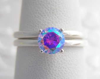 Unique Wedding Ring Set | Alternative Wedding | 14kt White Gold or Yellow 1ct Cosmic Muse Mystic Fire Ice High Set Solitaire Ring | Sz. 2-16