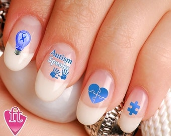 Autism art etsy autism speaks autism awareness nail art decal sticker set ribbon light it up blue prinsesfo Images