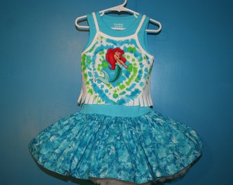 SALE! (Last One!) Little Mermaid Inspired Twirl Tank dress, Little Mermaid dress, size 24 months/ 2T, 21 inches long, (READY to ship!)