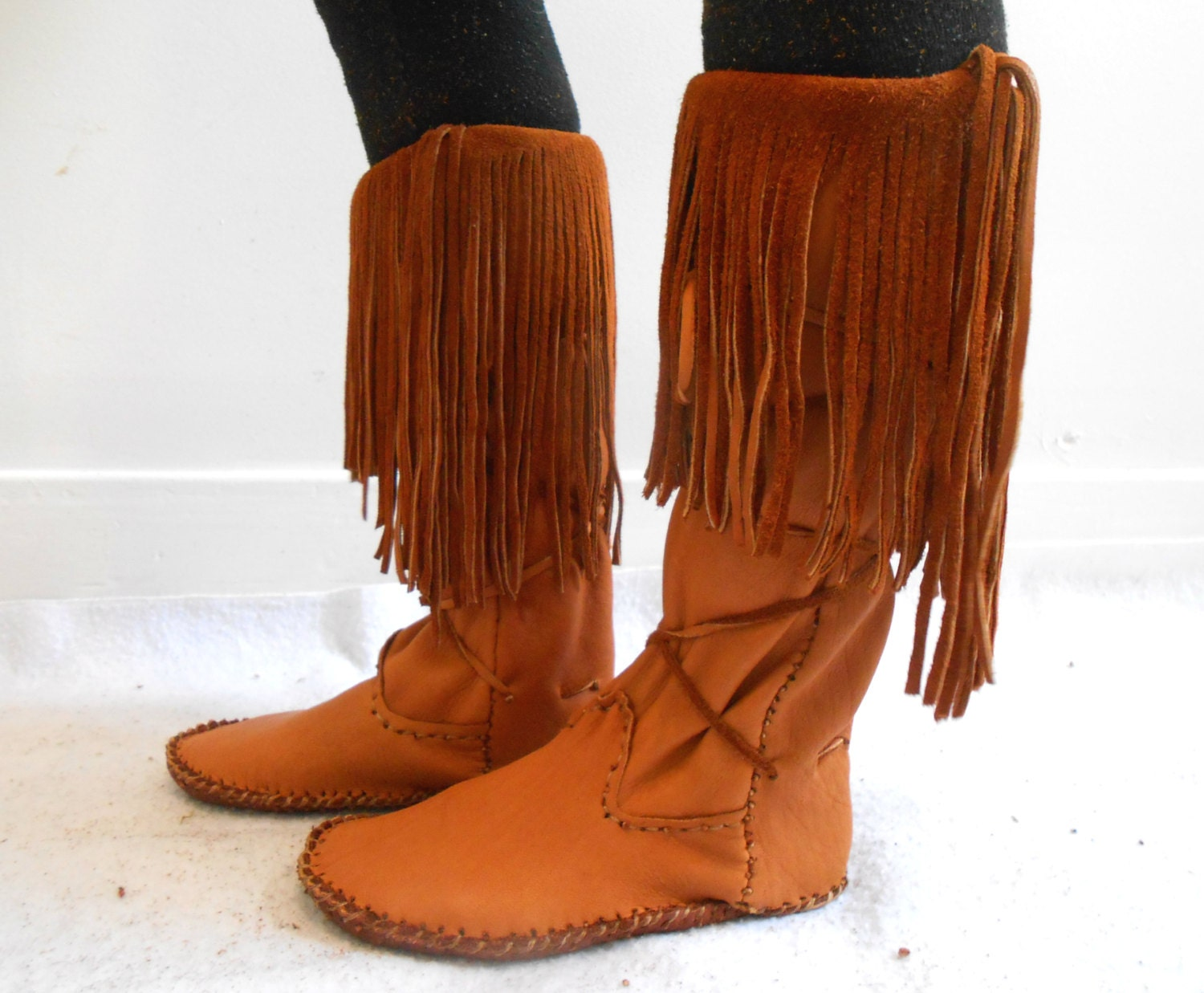 Tall fringe moccasin boots handmade leather by faemoonwolfdesigns
