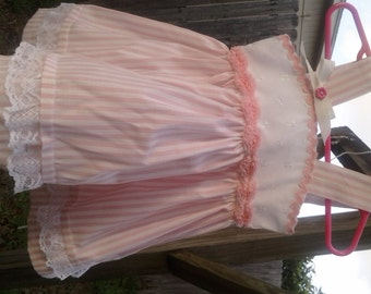 Pink and White Striped Dress with lace Ruffles and pink roses size 3 months