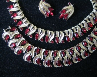 1950's Vintage Red Rhinestone Necklace Bracelet Earrings Set