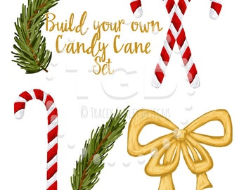 Candy Cane Clip Art, Invitation Art, holiday clip art, diy candy cane art, build your own candy canes, Christmas clipart, invitation clipart