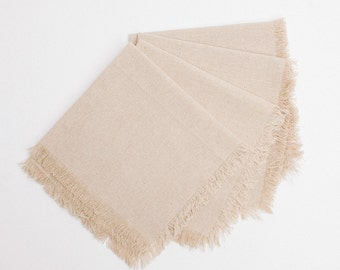 Linen Napkin Fringed Edge, Wedding Napkin, Party Napkins, Favor Packaging