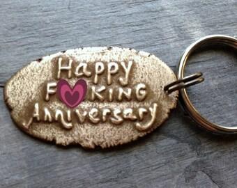 Happy Fcuking Anniversary Key Chain Bronze Anniversary Eight Years