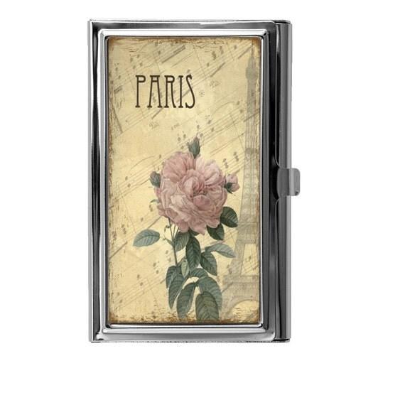Business card holder metal card case vintage floral design for Vintage business card case