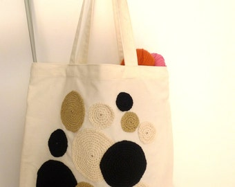 tote bag with crochet appliques