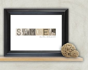 Baby Name Art, New Baby Gift, Personalized Baby Gift, Baby Name Print, Personalized Nursery Art, Christening Gift, Nursery Wall Art