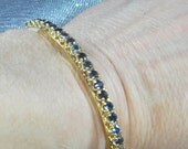 14K Yellow Gold Hinged Style Sapphire Bangle Bracelet.  On Hold till July 7, 2016.