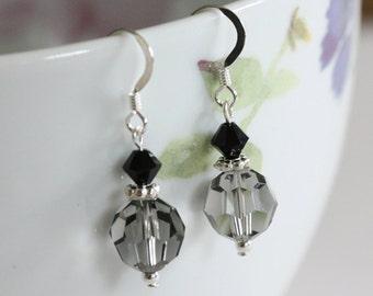 Grey Swarovski Earrings, Crystal Drop Earrings, Black Earrings, Handmade Crystal Earrings, Handmade Earrings, Bridal Earrings