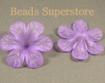 33 mm x 8 mm Purple Lucite Flower Bead - 6 pcs