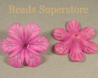 SALE 33 mm x 8 mm Magenta Lucite Flower Bead - 10 pcs
