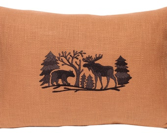 Embroidered Wilderness Pillow, Moose, Bear, Woods, Forest, Scenery, Wildlife, Nature, Silhouette, Animal Pillow, Handmade, Rustic Decor