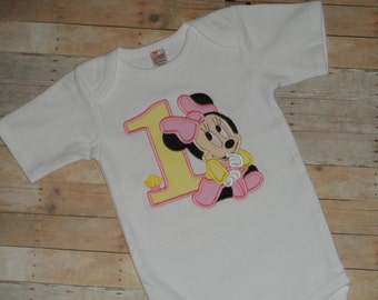 Baby Toddler Girls custom applique birthday shirt baby minnie mouse 2t 3t 4t 5t 12 month