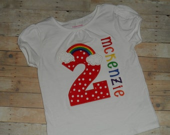 Baby Toddler Girls custom applique rainbow red polka dot birthday shirt 12 18 24 months 2t 3t 4t 5t