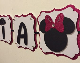 Minnie mouse name banner