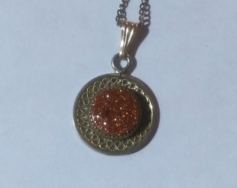Necklace Goldstone Gemstone for Ambition Sterling Silver