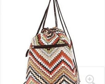 Monogrammed Chevron Sling Backpack - Brown